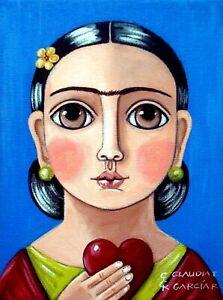 "Original & Mexican Folk Art. ""FRIDA KAHLO WITH HEART"". Original Canvas 6""x8"""