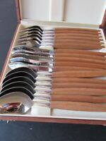 Vintage 17 Piece Helle - Bard Norway Stainless Steel Teak Flatware Set with Case