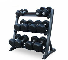 New Gym Wide Heavy Duty 3 Tier Steel Rubber Dumbbell Rack Storage Holder Stand