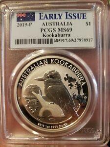 2019 P Australia $1 One Dollar Kookaburra 1oz .9999 Silver PCGS MS69 Coin