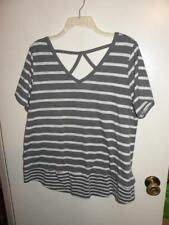 Lane Bryant Womens Gray White Stripe Shirt w/ Criss Cross Back Detail sz 14/16