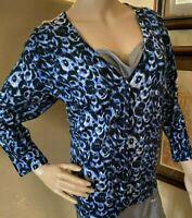 Talbots Womens Spring Animal Print Cheeta Merino Wool Cardigan Sweater sz XL