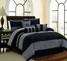 7 PC Black Grey Micro Suede Striped Comforter Set Twin Full Queen Cal King
