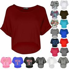 Ladies Baggy High Low Cropped Top Womens Dipped Hem Stretchy Turn Up Sleeve Top
