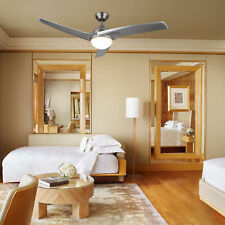 Contemporary Ceiling Fan w/ LED Panel Light & Remote Control Brushed Nickel