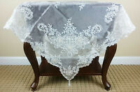 """51x51"""" Square Handmade Beaded Embroidered Sheer Fabric Tablecloth Wedding Bridal"""
