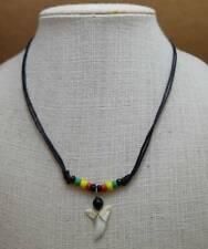 Boy Girl Choker Necklace Rasta Reggae Hippie Surfer Real Shark Tooth Pendant