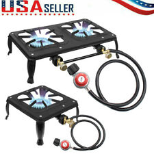 Portable Propane Burner Gas Cooker Outdoor Camping Stove Grill w/ Regulator Hose