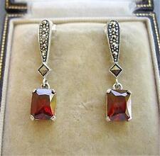 Deco Inspired Garnet Red CZ & Marcasite Silver Drop Earrings