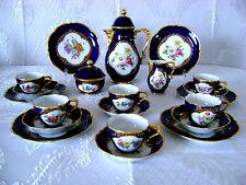 VG GERMAN BAVARIA LINDNER KUEPS HP PORCELAIN COBALT BLUE GLT TEA COFFEE SET RARE