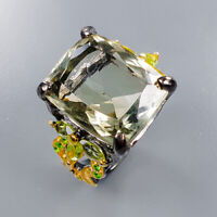 Rutilated Quartz Ring Silver 925 Sterling 18x14 mm. 25 ct+ IF Size 8.5 /R138190