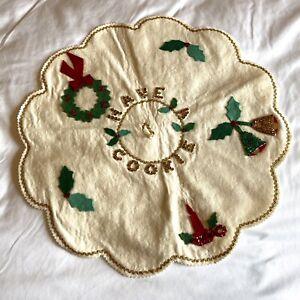 Vintage Handmade Felt Sequin Jeweled Christmas Santa Cookie Plate Cover