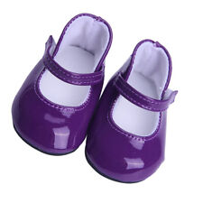 Cute Pair Sticky Strap PU Leather Shoes for 18'' AG American Doll Dolls Purple