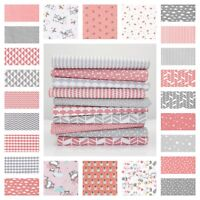 New Blush Pink & Grey 100% Cotton Fabric By the Metre Chevron Star Triangle Dot