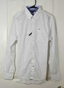 NWT MEN'S TOMMY HILFIGER WHITE DOTS BUTTON UP DOWN SHIRT LONG SLEEVE MULTI SZ