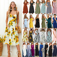 UK BOHO Womens Ladies Summer Beach Casual Midi Dress Holiday Strappy Sun Dresses