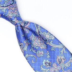David Donahue Mens Silk Necktie Electric Blue Pink Paisley Satin Print Tie USA