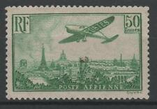 "FRANCE STAMP AERIEN 14 "" AVION SURVOLANT PARIS 50F VERT JAUNE "" NEUF xx TB  N708"