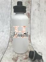 Sport Details about  /Personalised Water Bottle Rose gold name Girl School Pe training gym