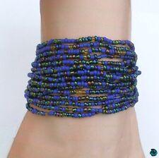 Bracelet Luna Multirang Tibétain Rocailles Bleu Fil Crocheté Fermoir Bouton