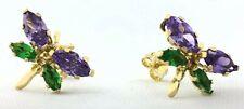AMETHYST 0.84 Cts & Emerald Dragonfly EARRINGS 14k Gold ** HIGHEST BIDDER WIN