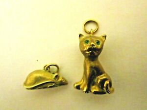 Rare Cat & Mouse Vintage 9ct Gold Charm / Pendants Jewelled Eyes