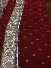 UniqueRedGOLD chiffon Saree Set Wedding Outfit SexyBlouse India Pakistan DIWALI