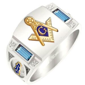 Freemason Blue Crystal Rings Punk Masonic Alloy Men Jewelry Ring Size 7-14