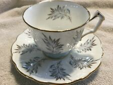 AYNSLEY BONE CHINA TEXTURED CUP AND SAUCER ENGLAND    SILVER LEAVES