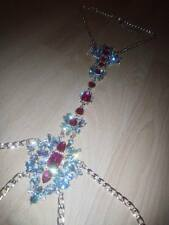 Body chain necklace with diamante in gold, pink diamante jewellery,rave,festival