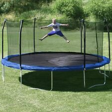 NEW Large 17' x 15' Trampoline Enclosure Spring Pad Oval Safety Play Fun Blue