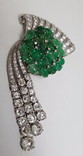 Leafy EMERALD & DIAMOND PLATINUM Brooch - BR668