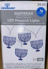 Hanukkah Battery Operated LED Menorah String Lights Blue Jewish 6.75 Ft Free Shp