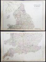 1870 John Bartholomew Large Antique 2 Sheet Map of England & Wales