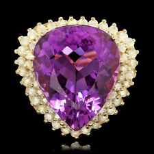 Certified  22.20cttw Amethyst 1.85cttw Diamond 14KT Yellow Gold Ring