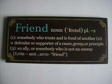 "FRIEND Encouraging Word Definition Wood Sign Plaque 10x 4.5"" w/ attached easel"