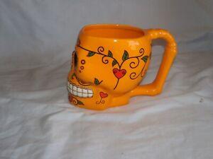 Orange Day of the Dead Red Sugar Skull Ceramic Coffee Mug/ Cup (NEW)