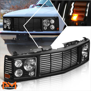 For 94-00 Chevy GMC C/K C10 Yukon Tahoe Black Front Bumper Grille+Headlights Set