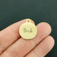 Bride Stainless Steel Charm - Hypoallergenic Gold Plated - BFS1628GOLD