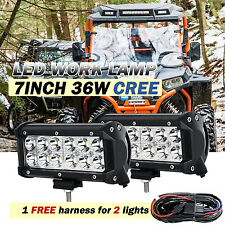 2x 7inch 36w CREE LED Work Light Bar Flood Offroad Truck SUV Boat Jeep Harness 6