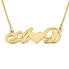 24K Gold Plated Initials Necklace with Heart