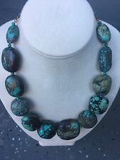 GIA report! antique  turquoise beads necklace Sterling silver!!!