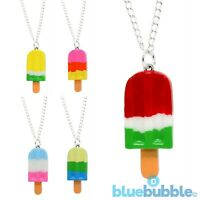 Bluebubble POPSICLE PARTY Necklace Rainbow Ice Cream 80s Sweet Retro Kitsch Food