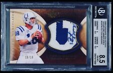 2009 Exquisite Game Used Peyton Manning Patch Auto BGS Nameplate /10