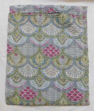 King Print Vintage Handmade Kantha Quilt Single Bedspread Throw Cotton Gudri`