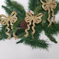 3 New Gold  Glitter Bows Tree Ornaments Christmas Xmas  Shiny Decorations