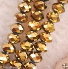 70PCS Gold Crystal Faceted Bead 6X8mm
