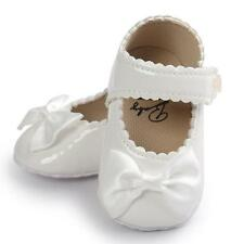Newborn Baby Girls Bow Anti-slip Leather Crib Shoes Soft Sole Sneakers Prewalker