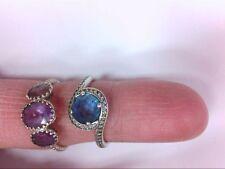 2- Retired PANDORA ALE Rings- 14K and 925 w/ Gemstones. WEAR READY!! BUY NOW!!