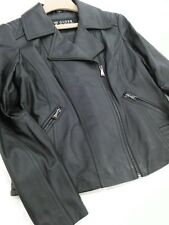 Guess Los Angeles Women's L/G  Black Leather Full Zip Jacket MSRP $550